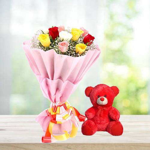 Delightful Mix Rose with Cute Red Teddy