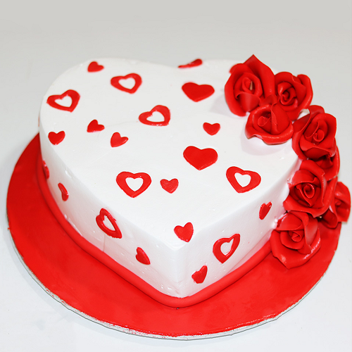Special Heart Roses Cake