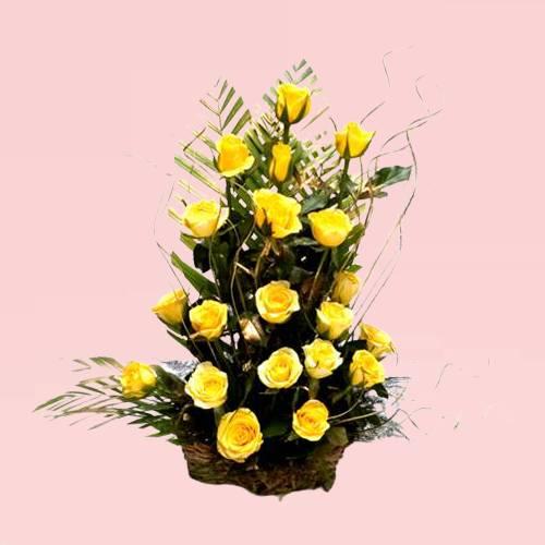 Beautiful Yellow Rose Arrangement Basket