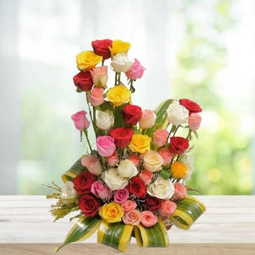 Mixed Rose Arrange Basket