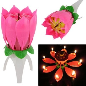 Lotus Flower Rotating Happy Birthday Candle For Cake Decoration