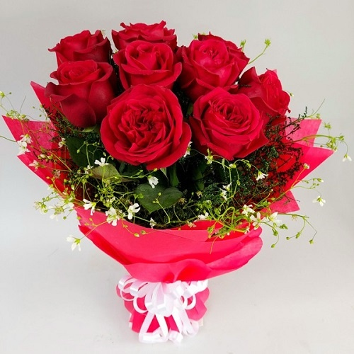 Red Rose Bouquet Red Paper Packing