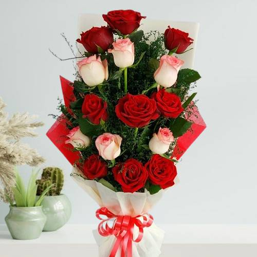 Red and Pink Mix Rose Bouquet