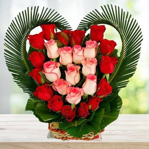 Heart Shaped Flowers Arrangement