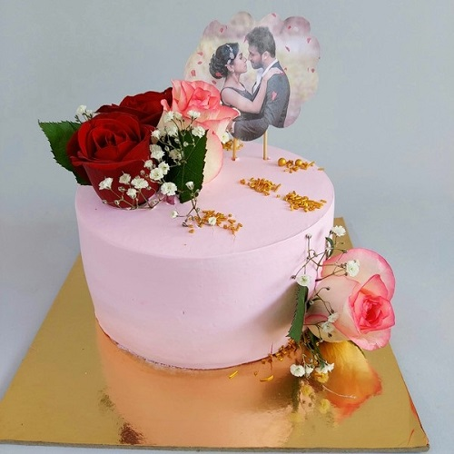 Designer Strawberry Photo Cake With Flowers Topping
