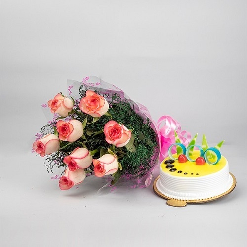 Pink Rose Bunch and Pineapple Cake Combo