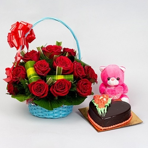Special Combo Cake Flowers Teddy