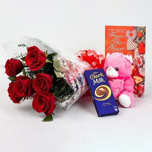 Flowers with Teddy and Chocolate You are Always Special Combo