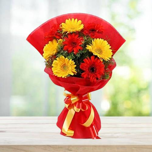 Blossom Red and Yellow Gerbera Bouquet