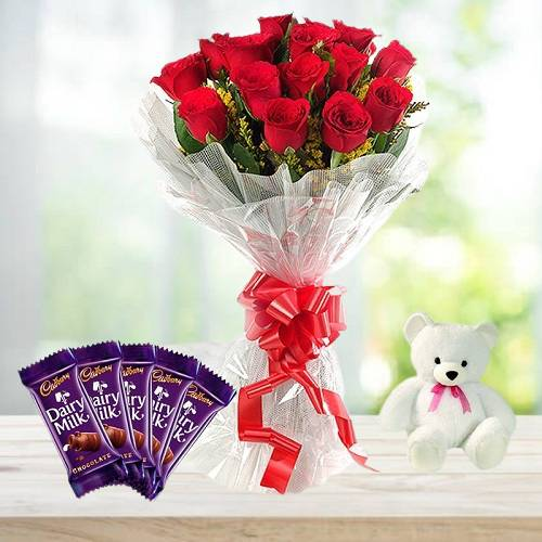 Red Rose Bouquet and Chocolate with Teddy Combo