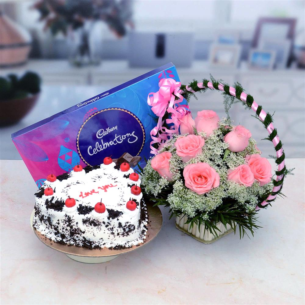 Cake & Flowers with Chocolate Combo