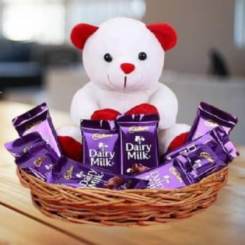 Teddy Bear 6 inch and 10 Cadbury Chocolate with Gift