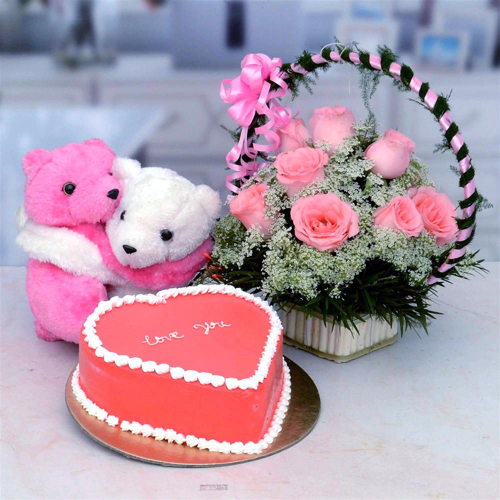 Cake and Flowers with Teddy