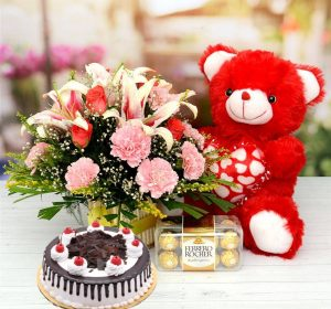 All Combos Cake Flowers & Chocolate Teddy